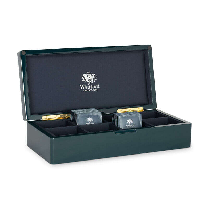 Blue 8 Compartment Lacquer Tea Box with teabags