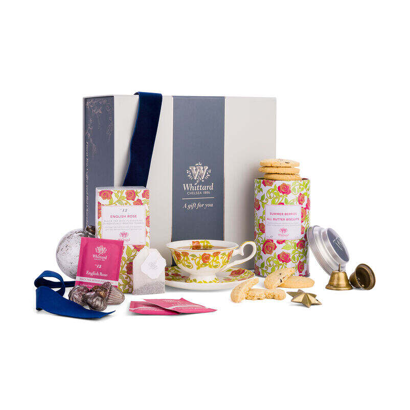 The Tea Discoveries English Rose Gift Set styled for Christmas