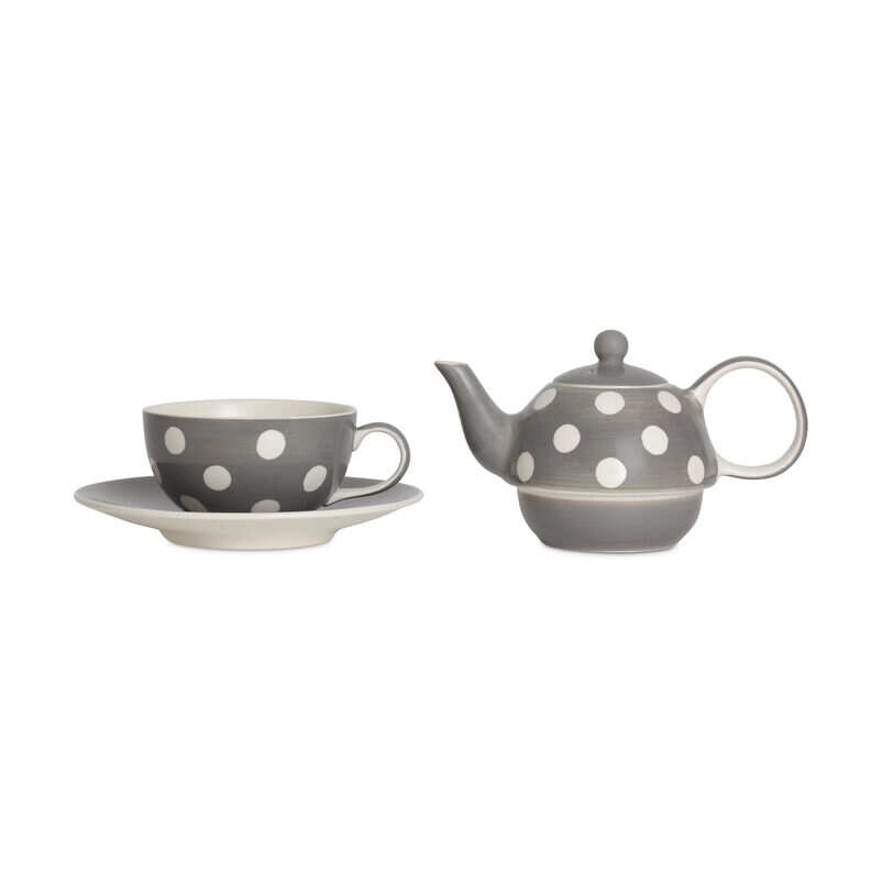 Florence Grey Tea-for-One with Teacup and Teapot separate