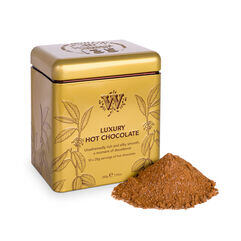 135 year Luxury Hot Chocolate Tin with hot chocolate outside tin