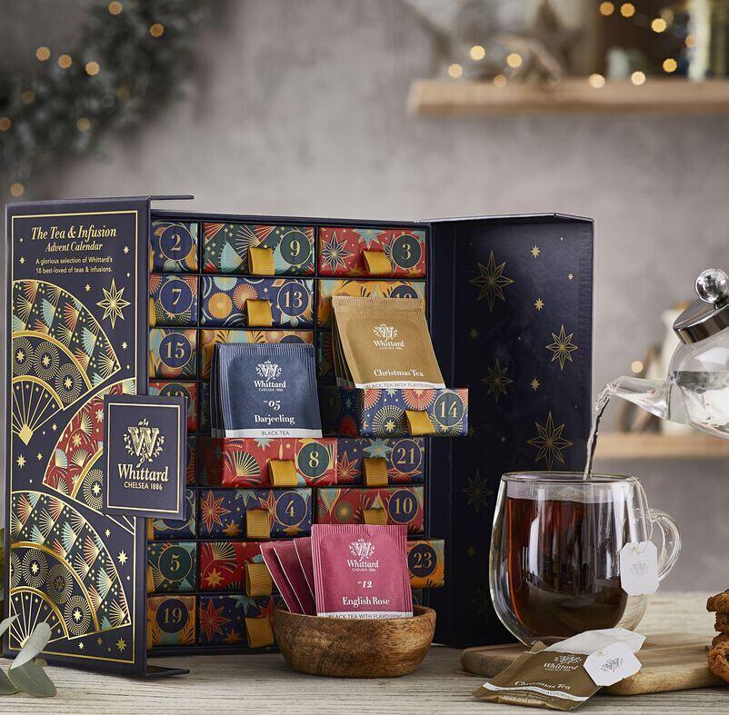 The Tea Advent Calendar with tea being poured into a Nova Mug