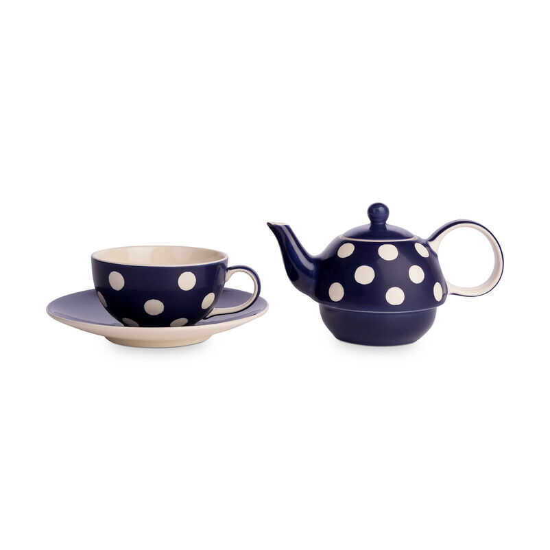 Florence Midnight Blue Tea-for-One with teacup and teapot separate