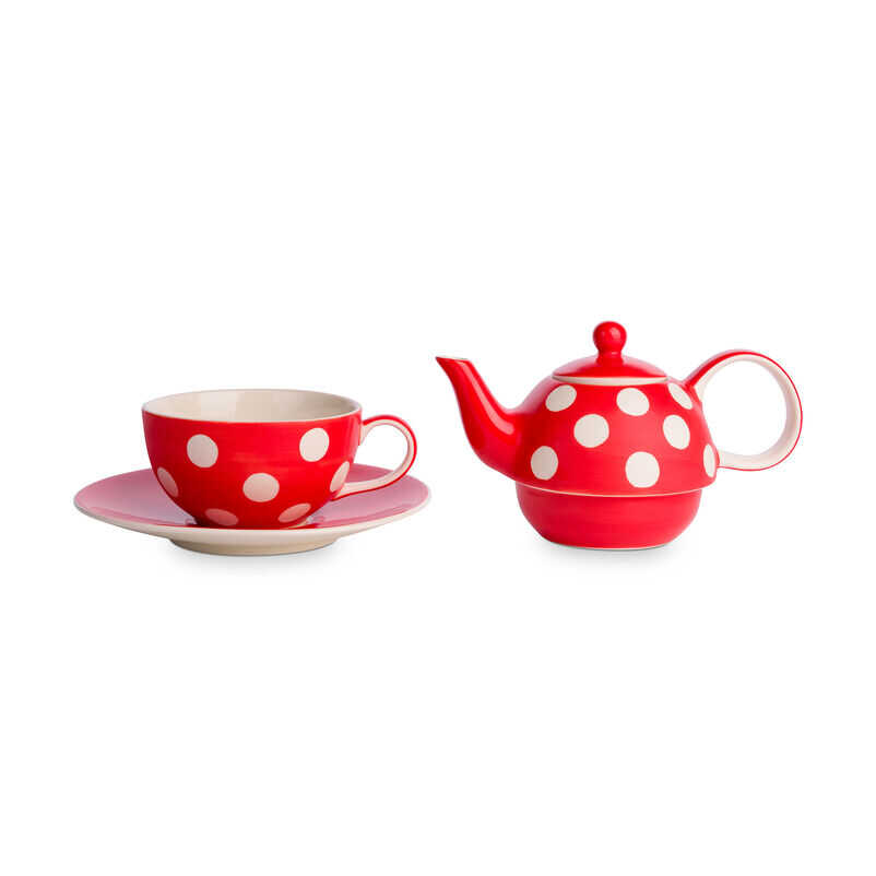 Florence Pillar Box Red Tea-For-One with cup and teapot separate