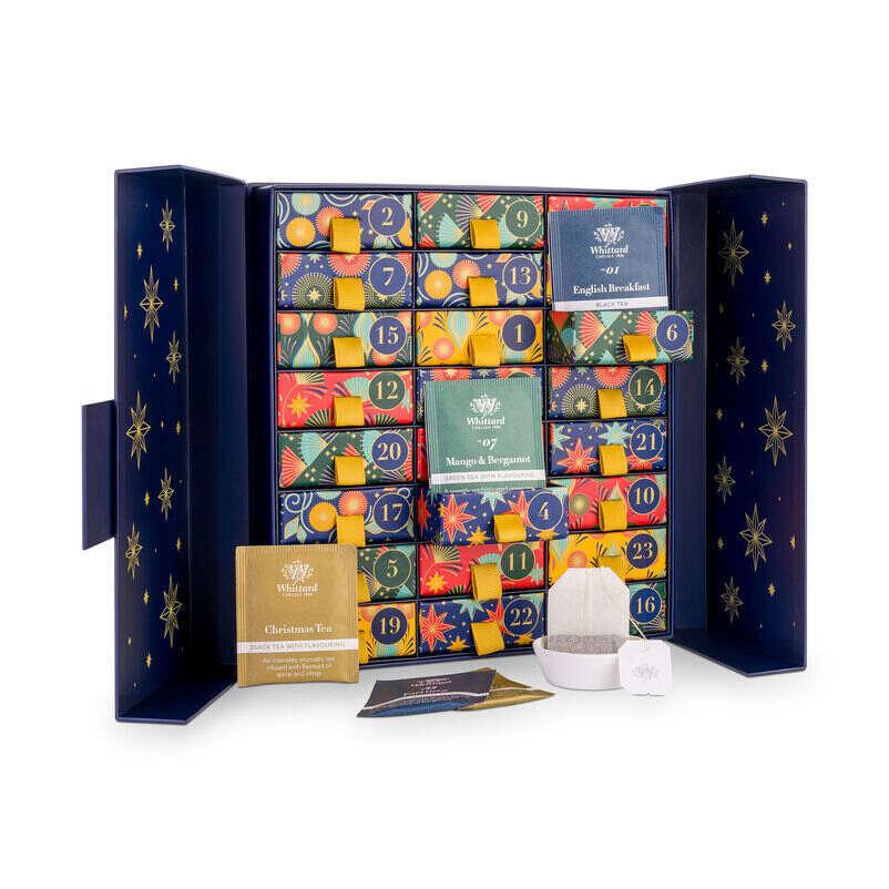 The Tea Advent Calendar with doors open and tea dish
