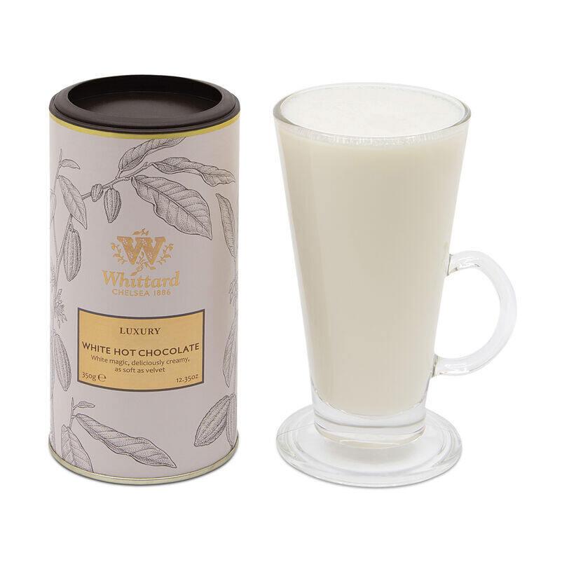 Luxury White Hot Chocolate in Soho glass