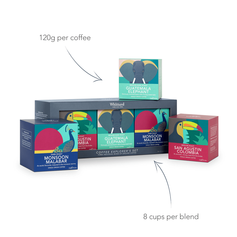 120g per coffee which makes 8 cups of each coffee blend in the Coffee Explorer's Gift Set