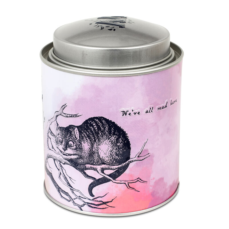 Piccadilly Alice Blend Tea Caddy focus on Cheshire Cat on tin