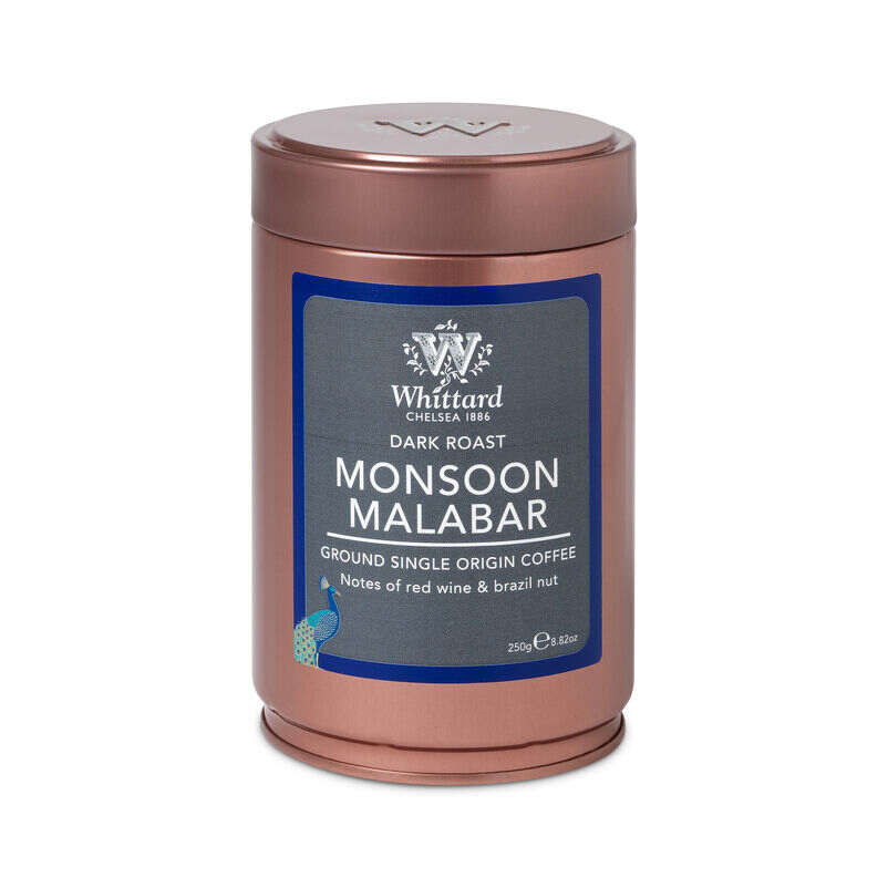 Monsoon Malabar Copper Caddy, Whittard ground coffee