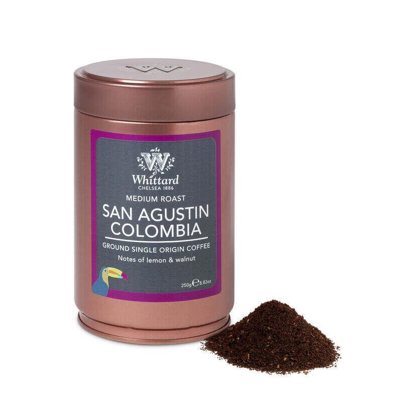 san agustin colombia ground coffee caddy, coffee, espresso, coffee flavours, caddy, copper caddy, ground coffee