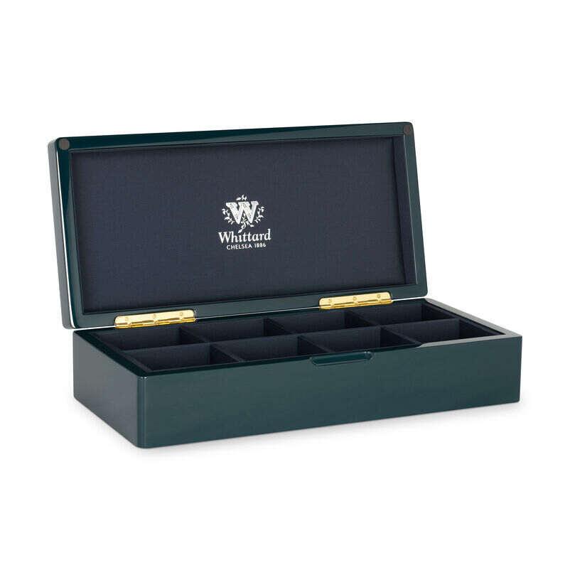 8 Compartment Blue Lacquer Tea Box opened