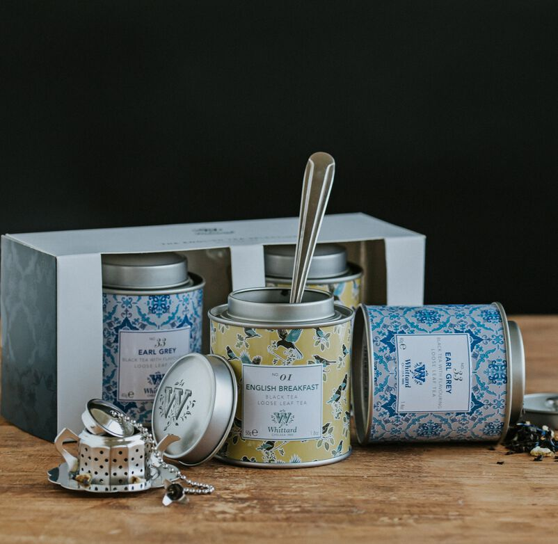 Tea Discoveries English Tea Mini Caddy Selection with Tea Party Infuser