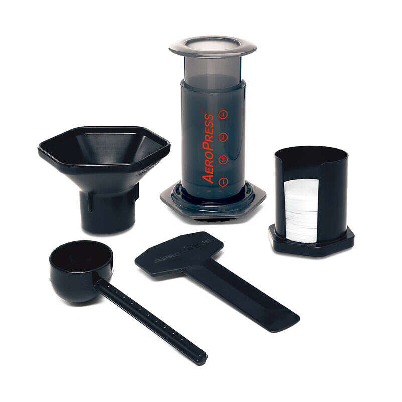 Everything you'll get with your AeroPress including filters and coffee scoop