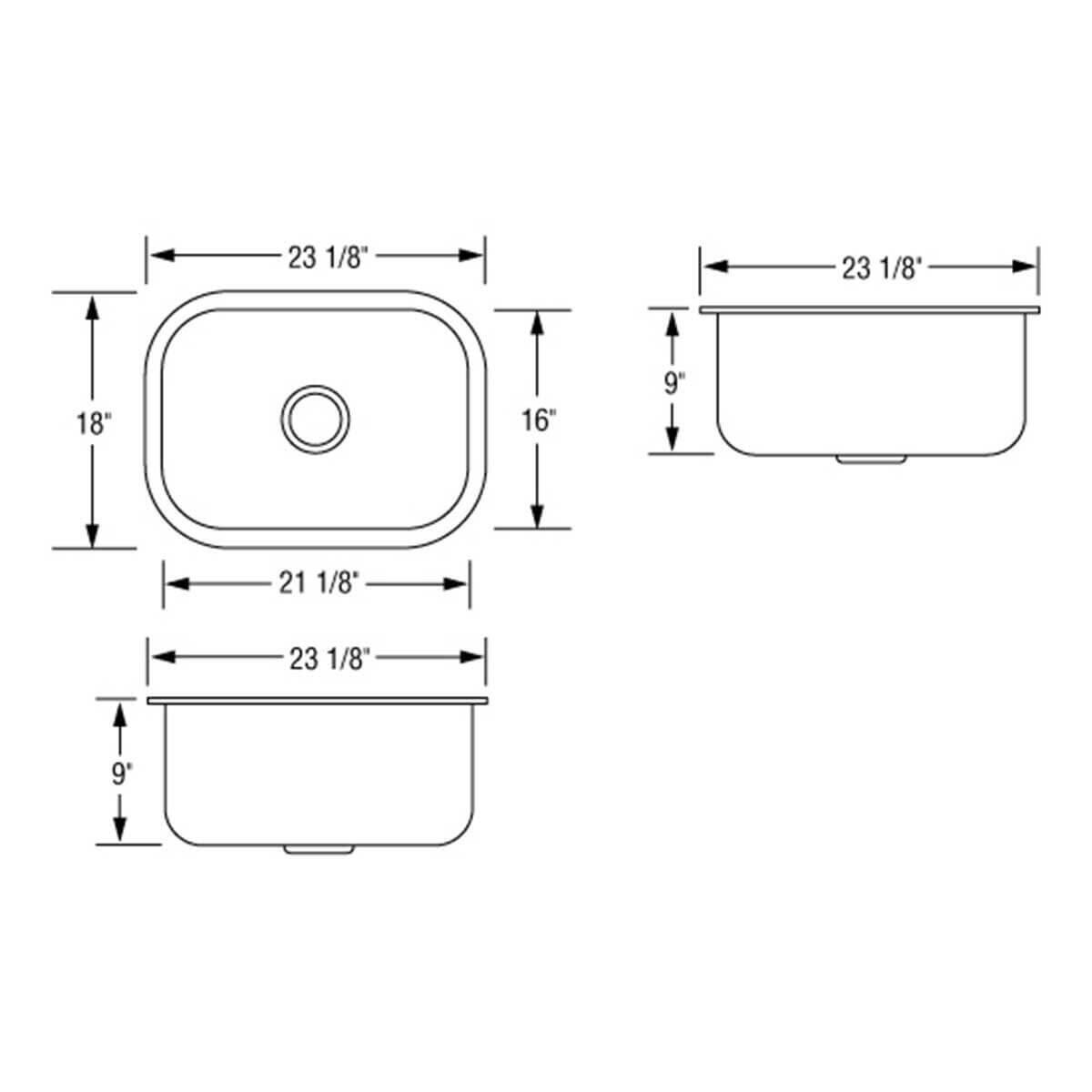 Artisan AR2318-D9 Single Bowl Sink Dimensions