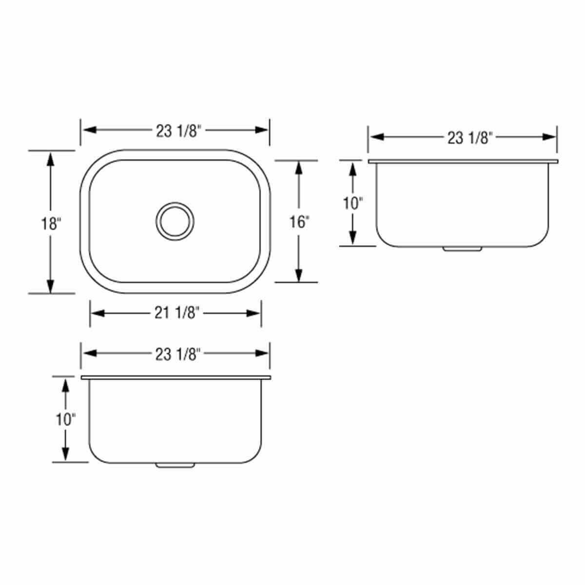 AR2318D10-D Artisan Single Bowl Sink Dimensions
