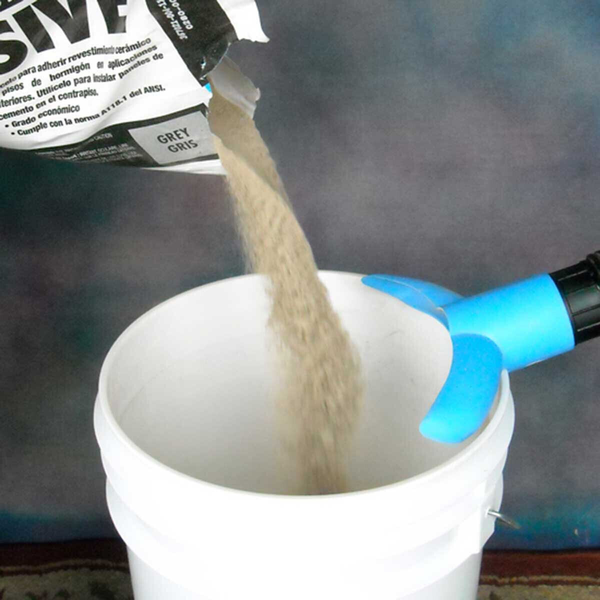 Eliminate dust from mixing mortar and grout in buckets, The WaleTale will not allow dust to escape the top of the bucket