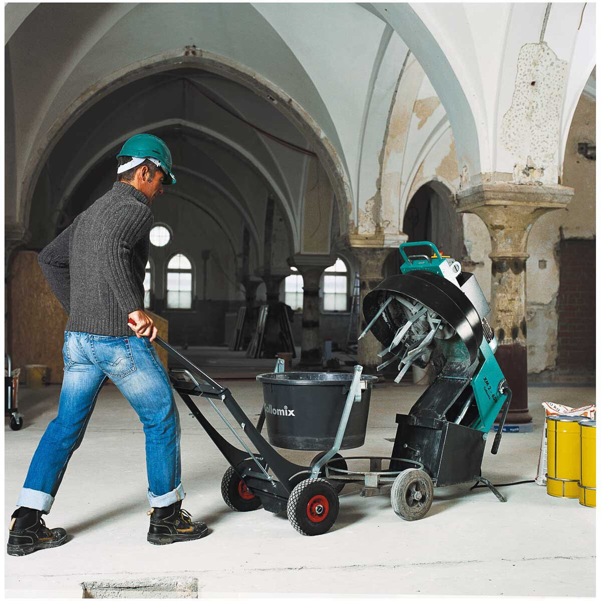 Collomix Bucket Cart for concrete, epoxy-based mortar, cement screed, grout, polymer-modified mortar, 2-component grouting compounds, self-leveling underlayments, concrete restoration toppings