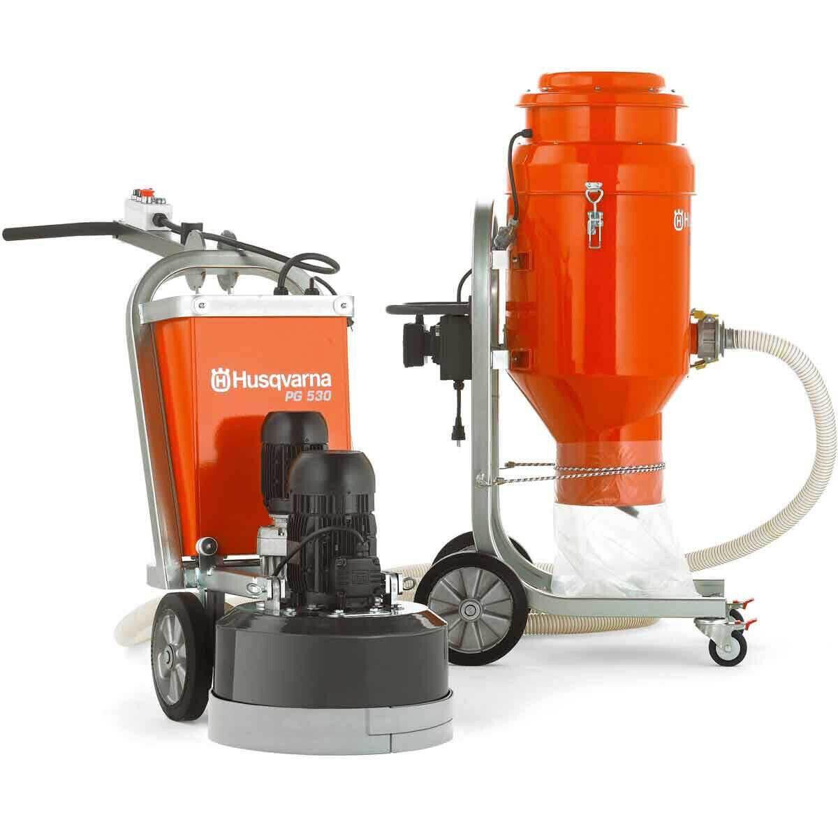 Husqvarna PG530 Grinder and DC 3300 Vacuum