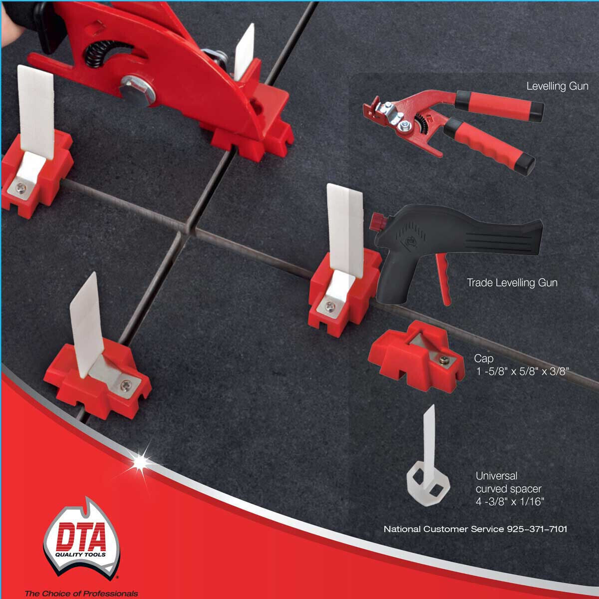 caps straps and pliers DTA lippage Leveling System Spacers