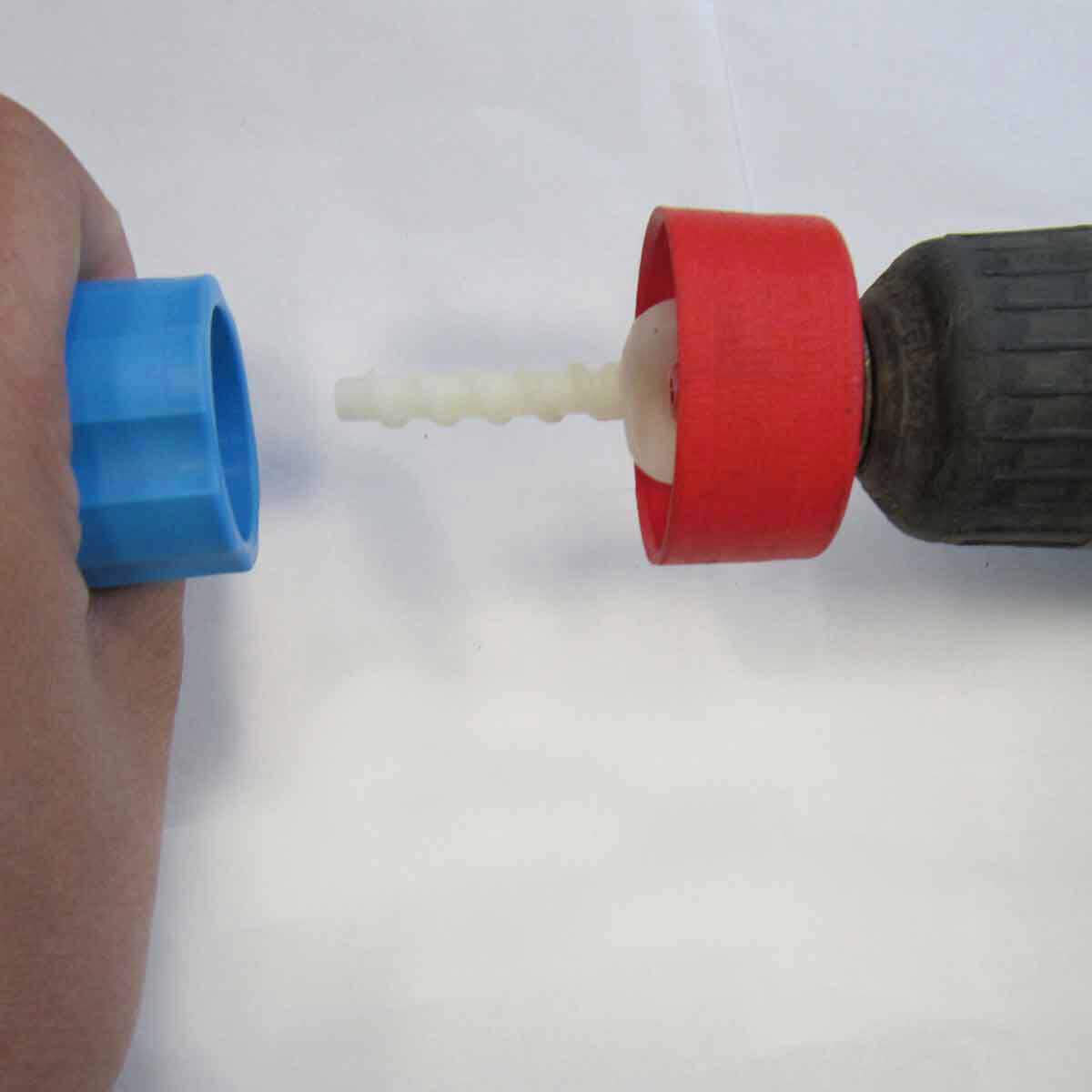 Attach the cap to the threaded stem by rotating it clockwise. Level the joint by rotating the cap using the minimum amount of pressure needed
