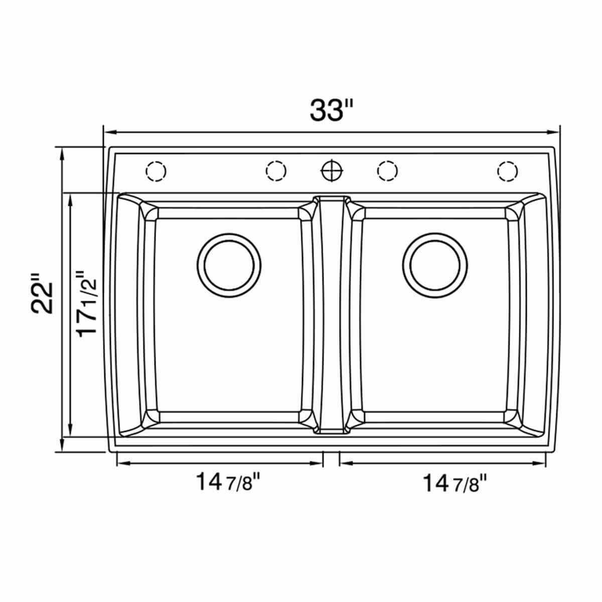 dimensions ACDM3302-D108 Artisan Granite Composite Double Bowl Dual Mount Sink