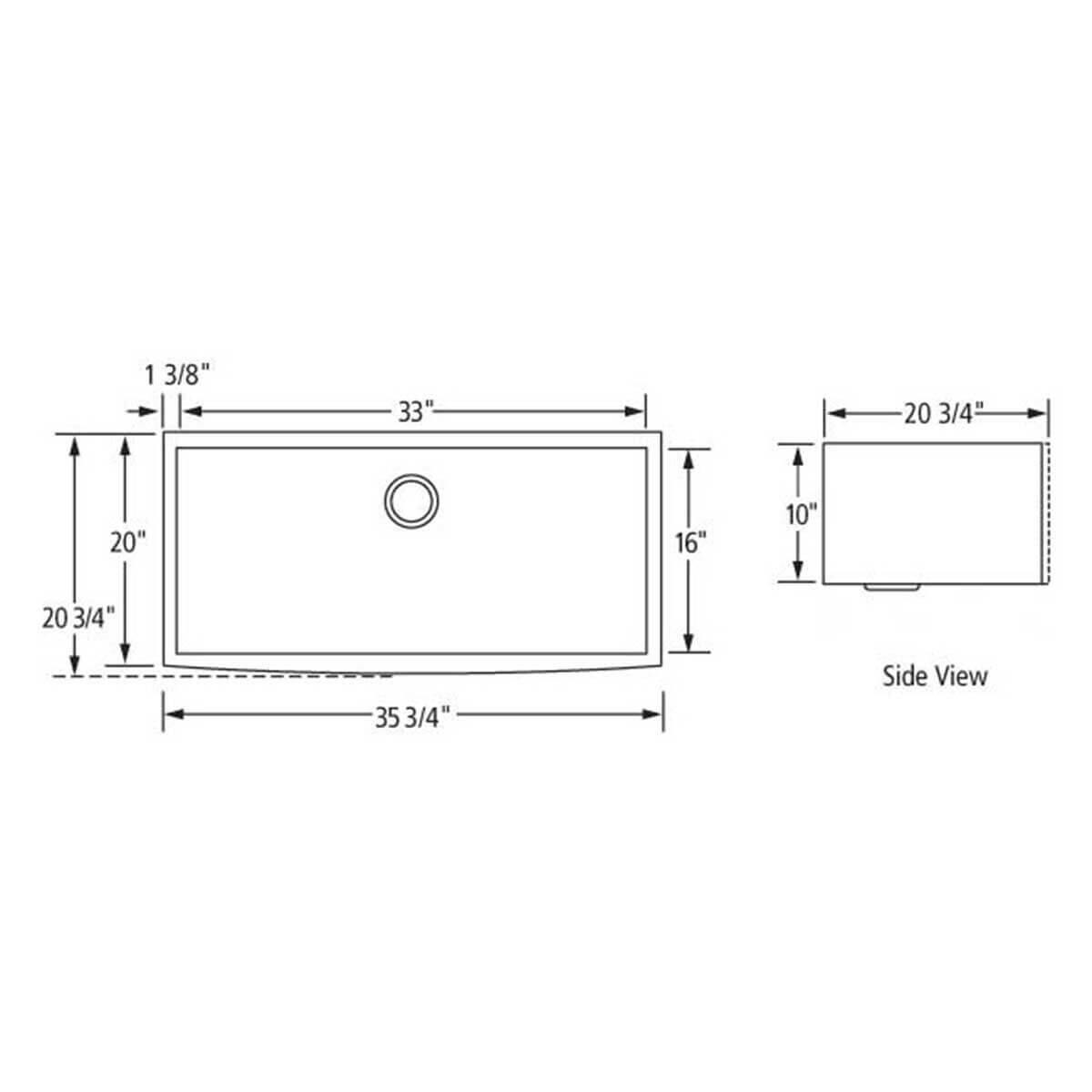 Artisan CPAZ3621-D10 Chef Pro Apron Sink Dimensions