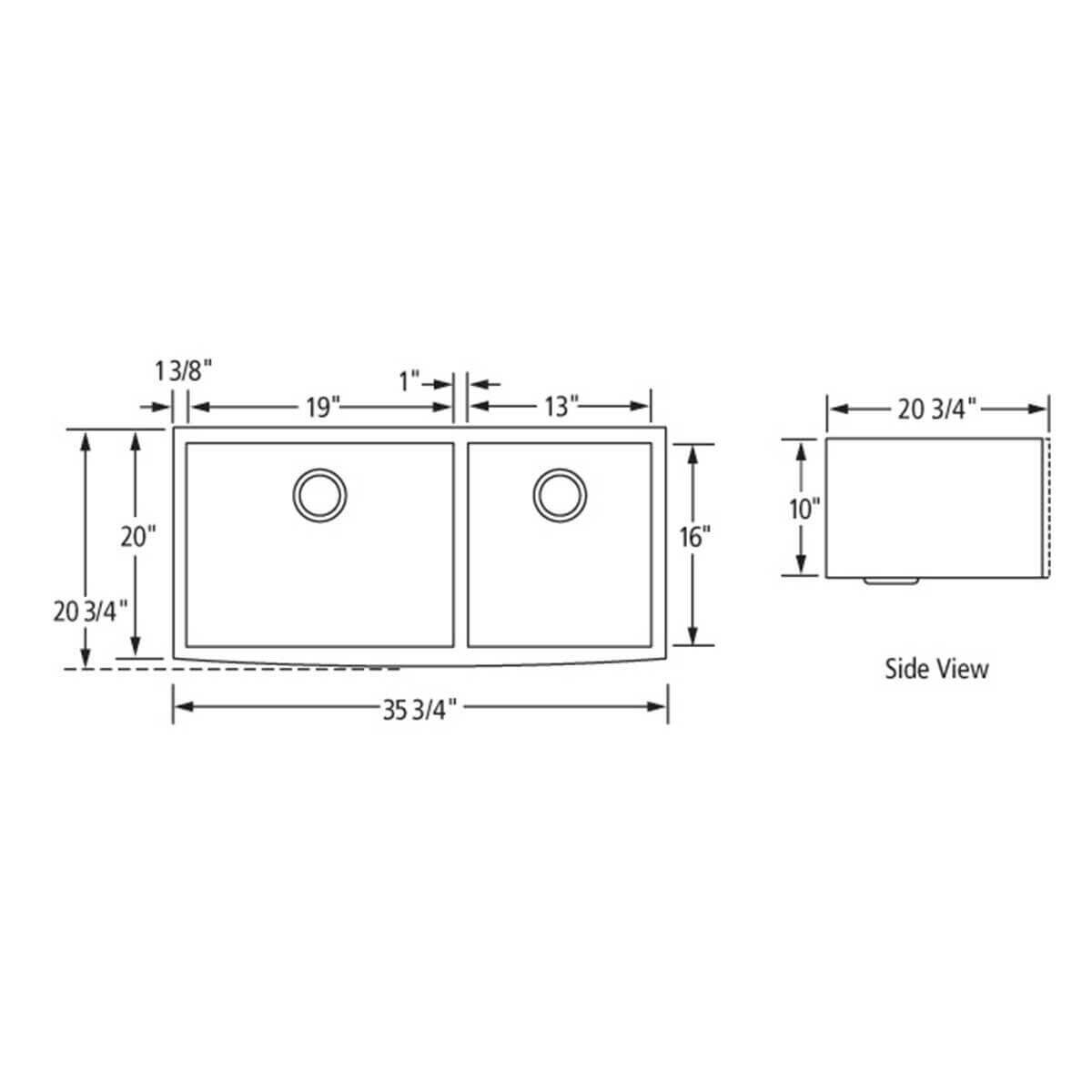 Artisan CPAZ3621-D1010 Chef Pro Sink Dimensions