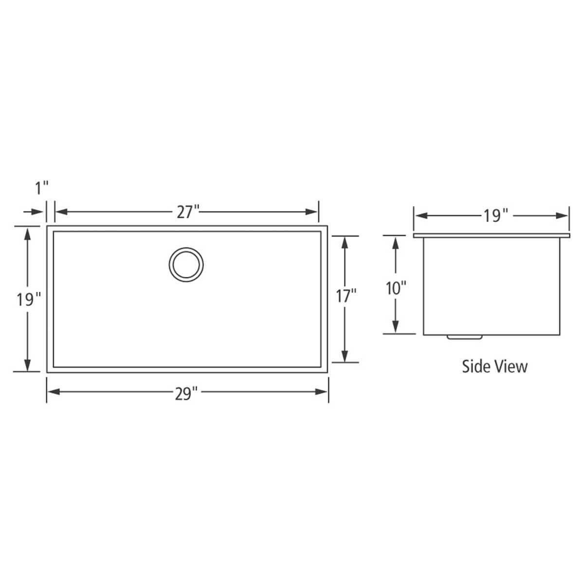 Artisan CPUZ2919-D10 Chef Pro Sink Dimensions