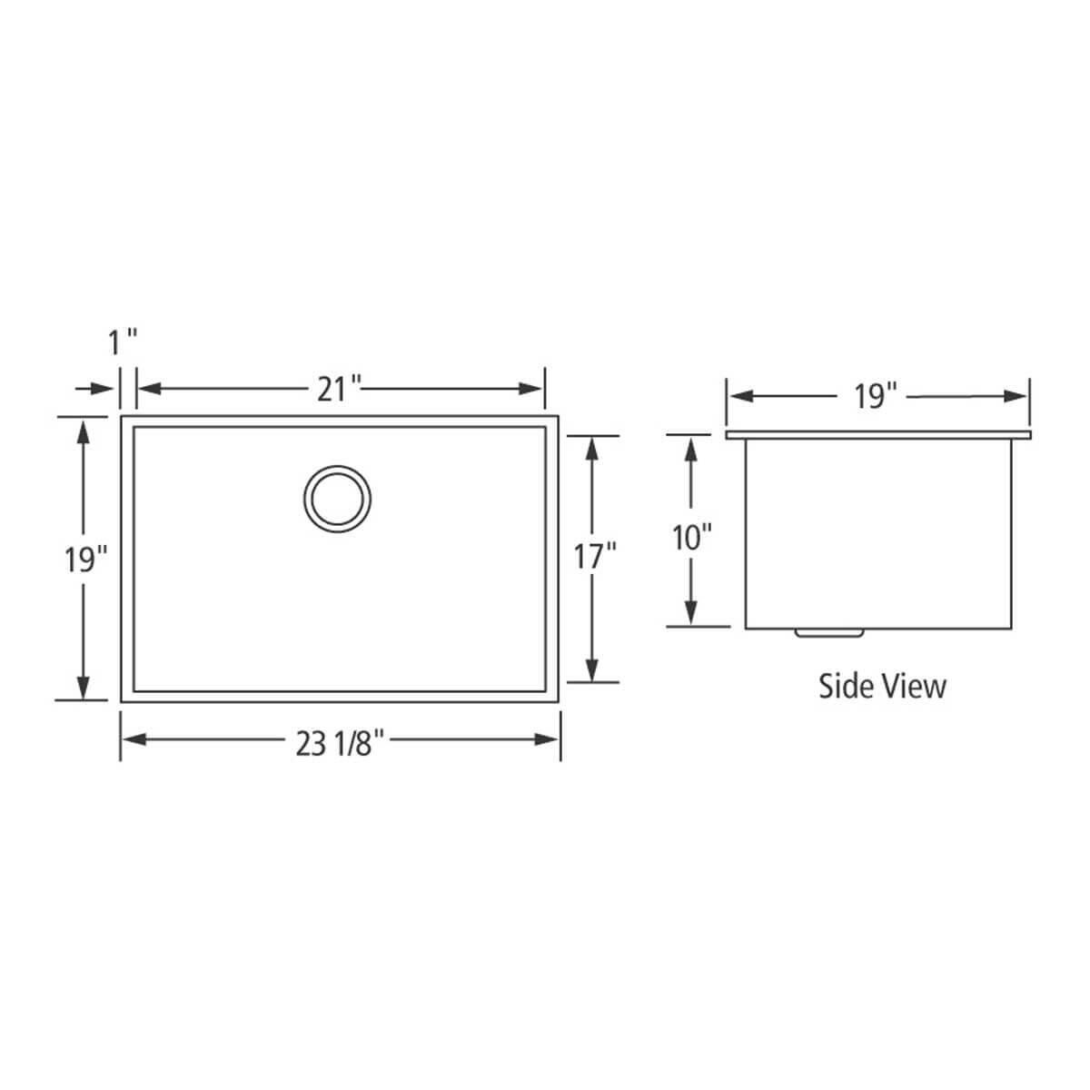 Artisan CPUZ2319-D10 Chef Pro Sink Dimensions