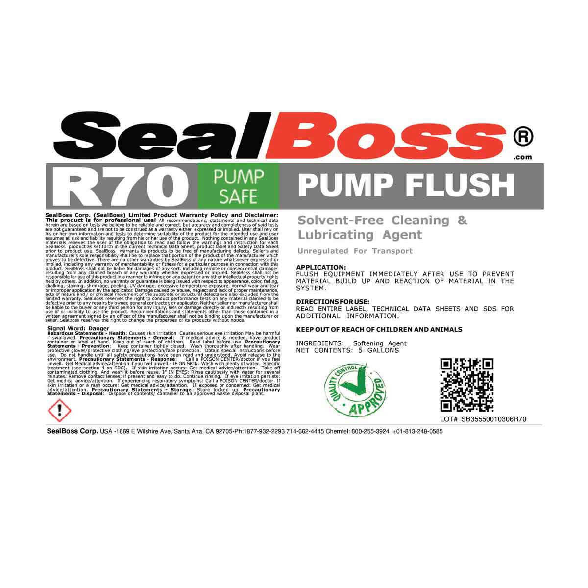 Seal Boss R70 Pump Flush BR70-5