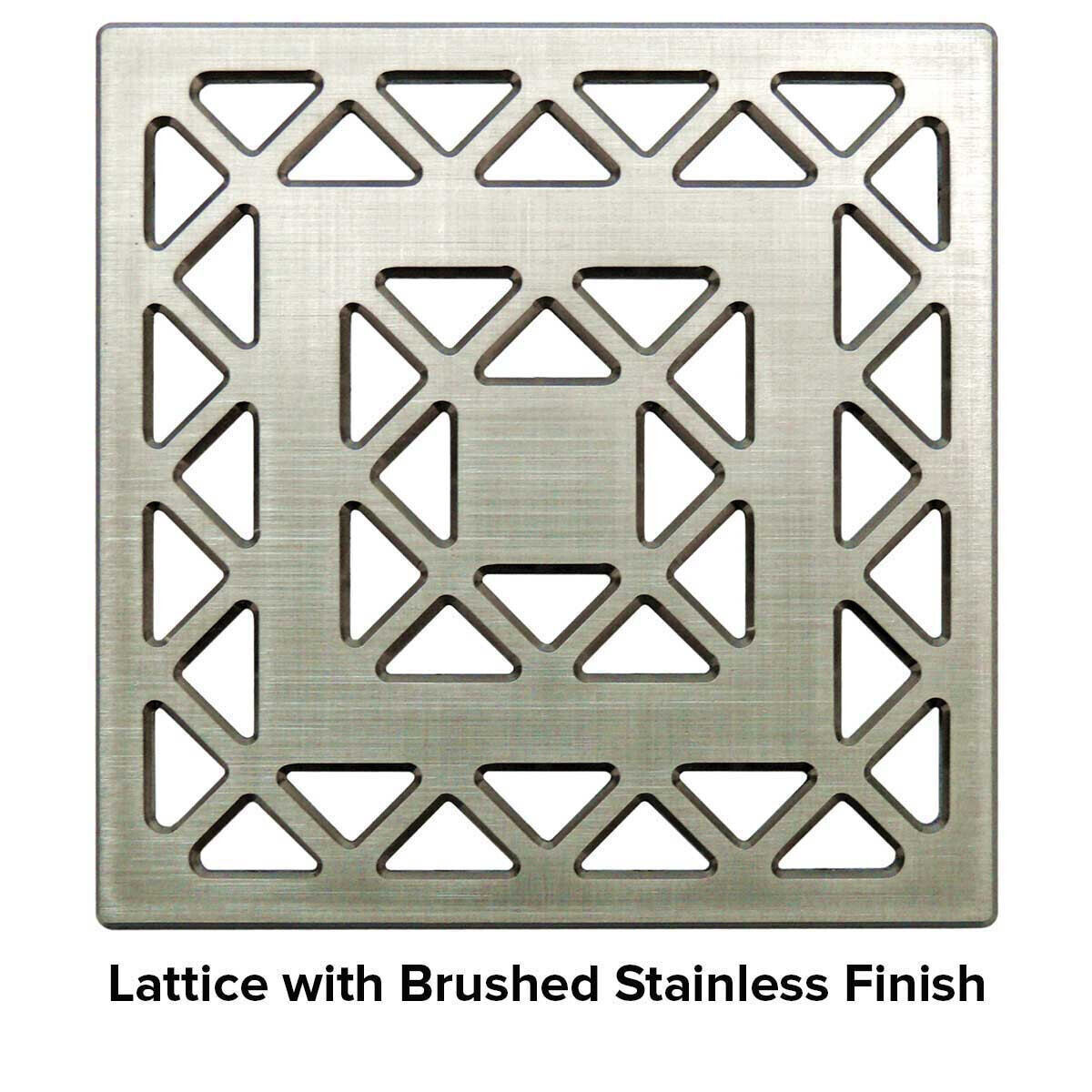 USG 4 inch Shower Grate Brushed SS Lattice