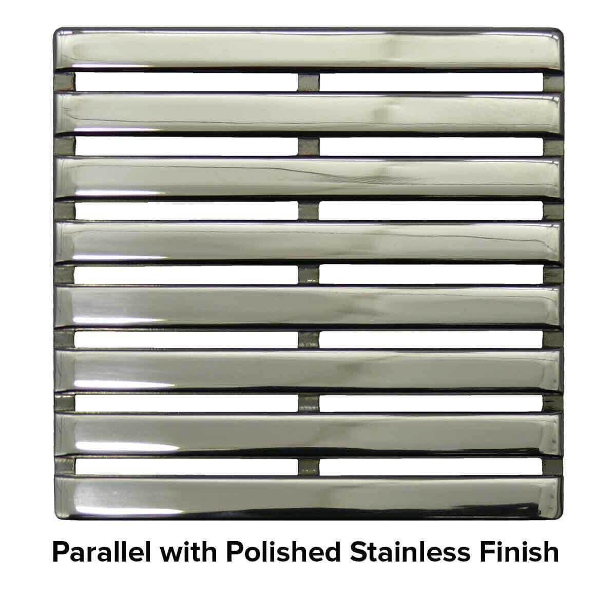 USG 4 inch Shower Grate Polished SS Parallel