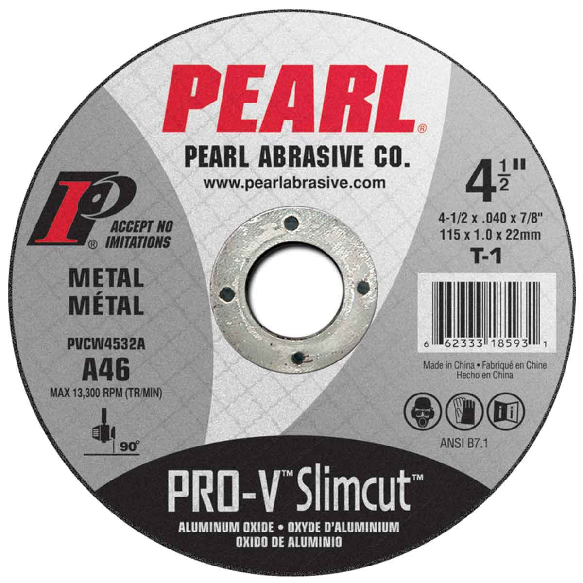 Pearl Abrasive 4-1/2 inch Slim Cut Pro V Aluminum Oxide Cut Off Wheel