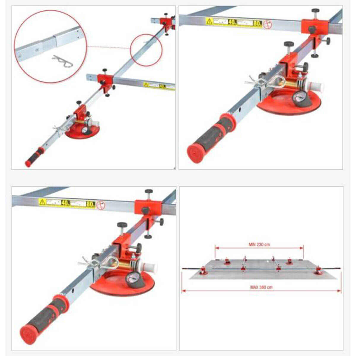 300-70 Montolit SuperStick Telescopic handles for a much more ergonomic grip and comfort suction cups are equipped with a vacuum safety gauge to indicate the force of suction before moving