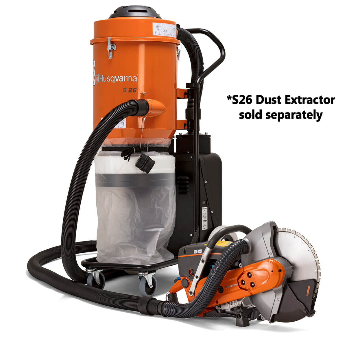 Husqvarna K770 VAC Power Cutter with S26 Dust Extractor