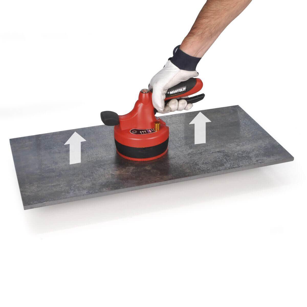 Lifting Porcelain Tile with Montolit Vibrating Suction Cup