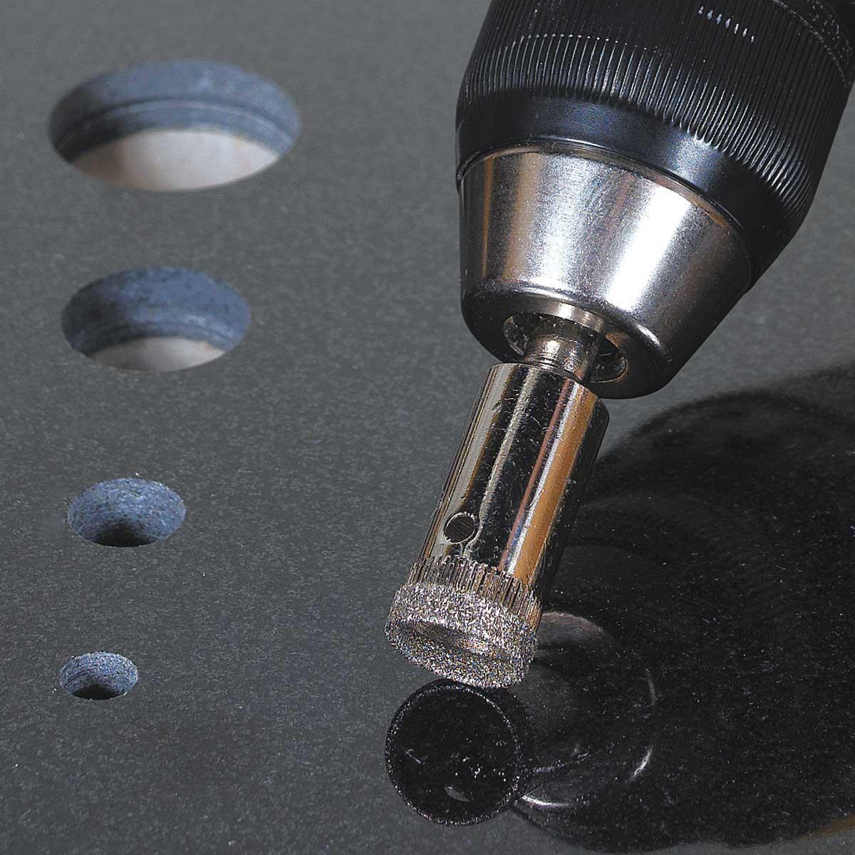 Wet Diamond Drill Bit Cuts Tile
