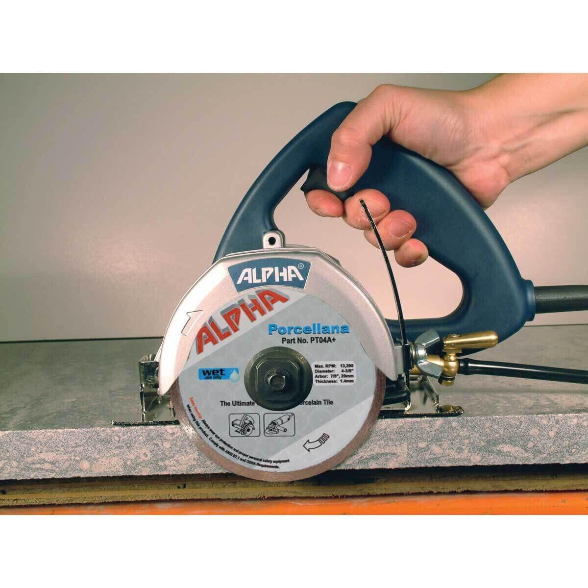 Alpha AWS110 Tile Circular Saw Cuts Granite