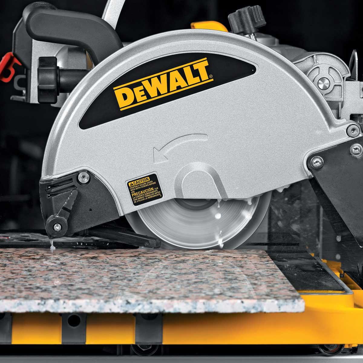 Dewalt Tile Saw cutting with profile wheel