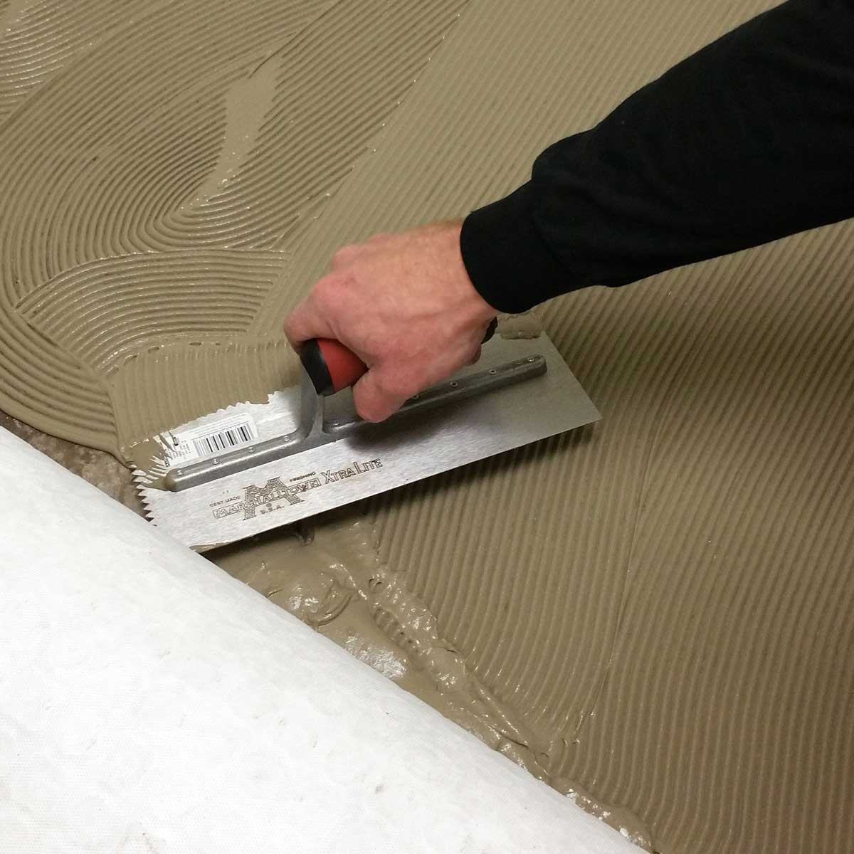 Spreading Thinset with Marshalltown V-Notched Trowel