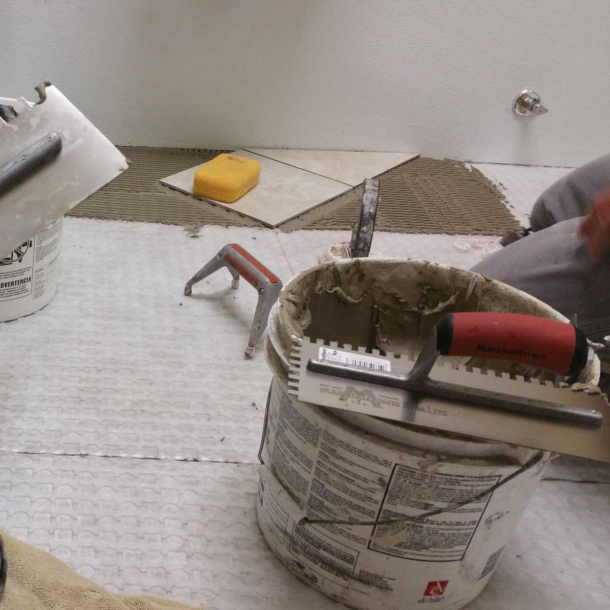 Shower Tile Installation with Marshalltown Trowels