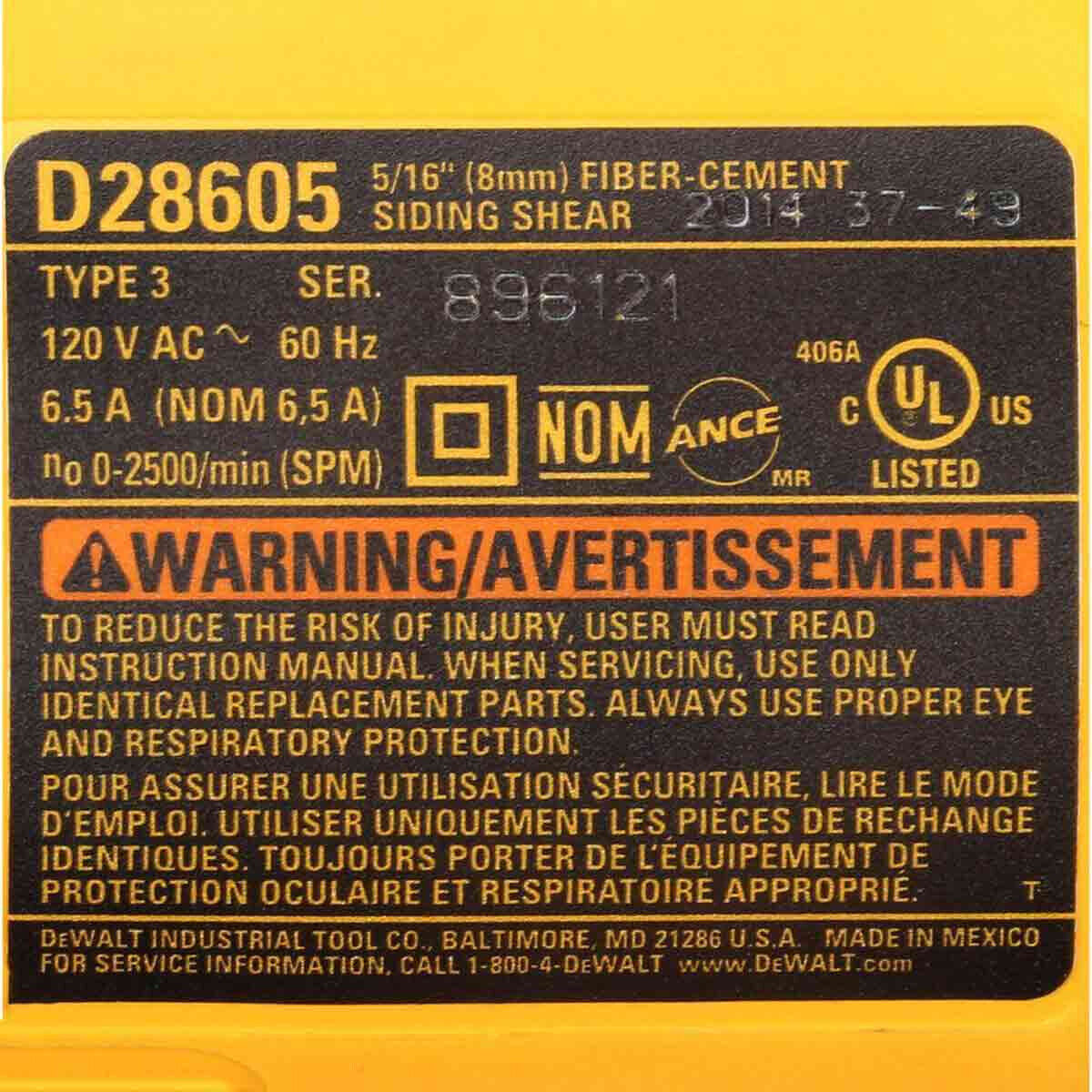 D28605 Dewalt 5/16 in. Variable Speed Cement Shear specifications lable