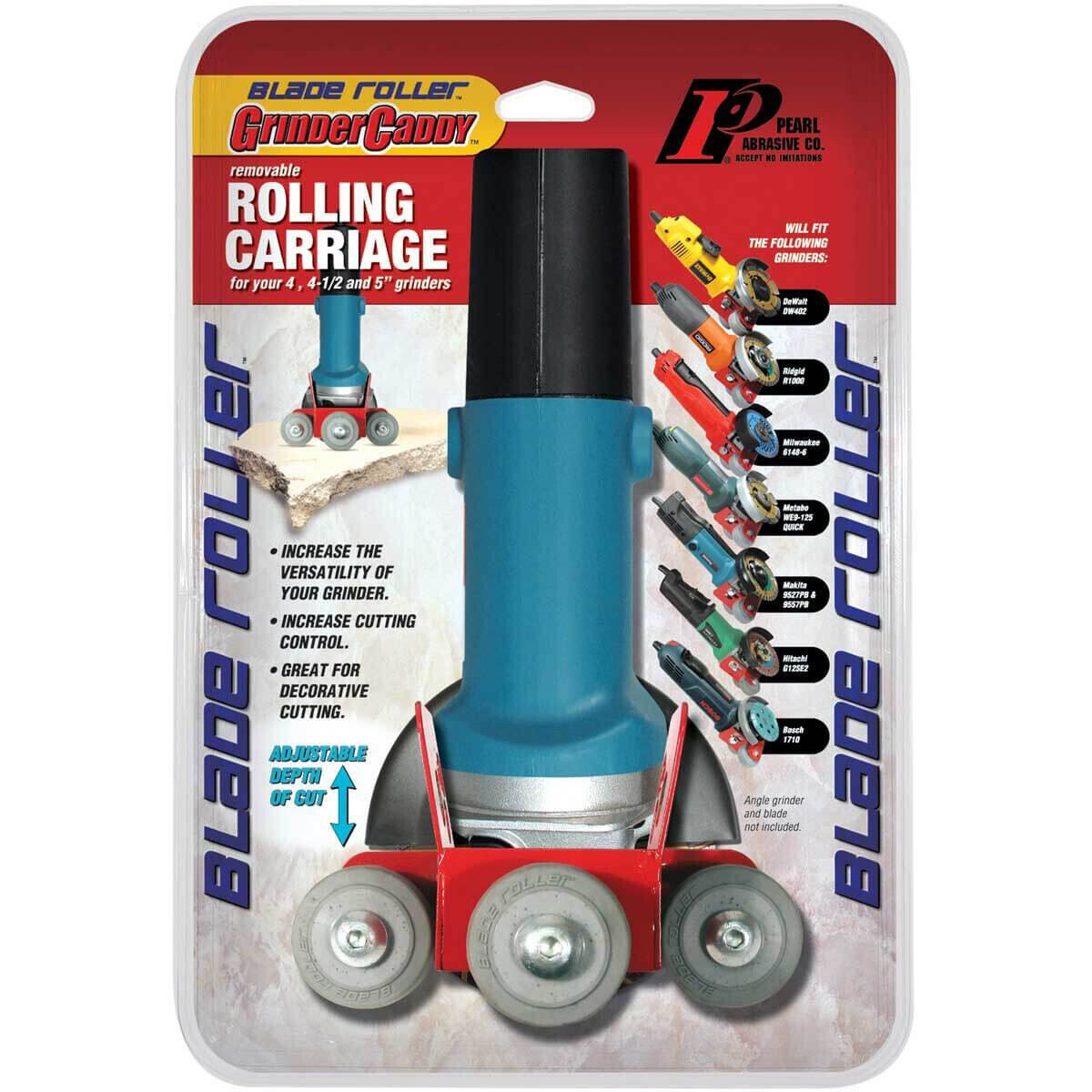 Pearl Abrasive Roller Caddy Attachment for Angle Grinders Great for crack chasing, tuck pointing, stone, masonry work and fabrication