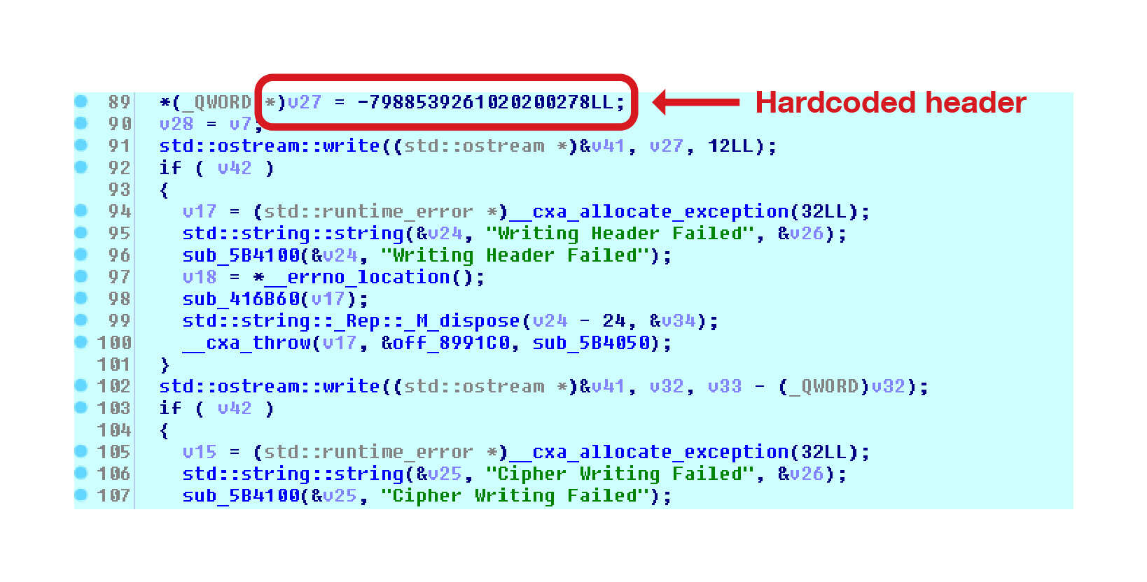Adding code to header