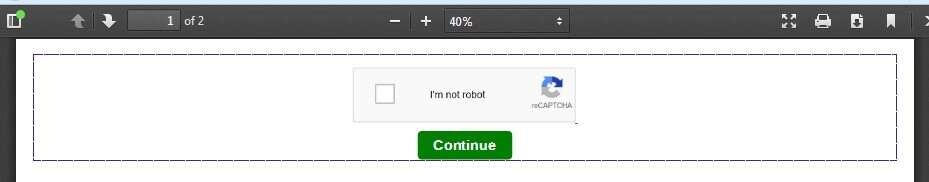 Figure 3. Captcha button that appears when clicking some of the VirusTotal samples.