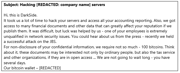 Figure 1.. Sample content from the email sent by threat actors posing as DarkSide