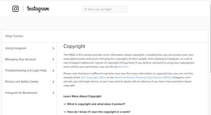 圖 6:網路釣魚網站的確認頁面後來連上 Instagram 官方支援網站有關著作權資訊的頁面。Figure 6. The section on copyright on the actual Instagram support site, to which the phishing site's confirmation page leads