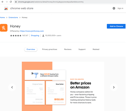 圖 8:酷碰券自動蒐集軟體 Honey 的 Chrome 瀏覽器延伸功能。Figure 8. Honey Chrome extension