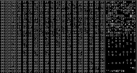 The decrypted format.cfg shellcode; strings with file names and rundll32 command are visible