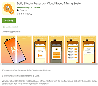 Screenshots of some of the fake cryptocurrency apps when they were still available on the Play Store
