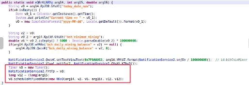 圖 3:假的虛擬加密貨幣挖礦程式內部使用一個計數器和隨機函式來模擬挖礦。The fake cryptomining apps simulate mining locally using a counter and random functions